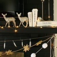 My Black, White, and Glimmering Eclectic Holiday Mantle