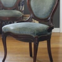 Blue Velvet French Dining Chairs in Dining Room