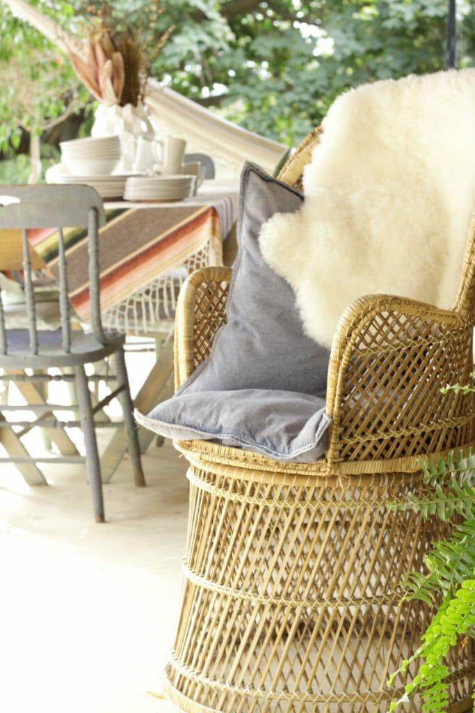 Wicker Peacock chair on Bohemian Porch
