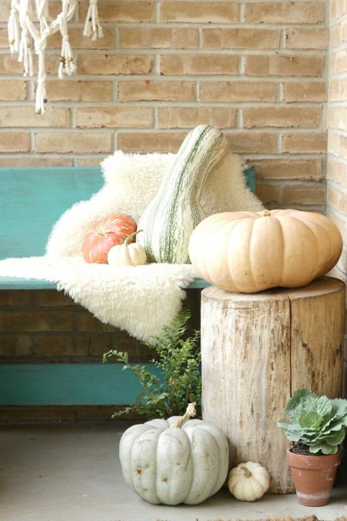 Bohemian Porch Bench Fall Styling