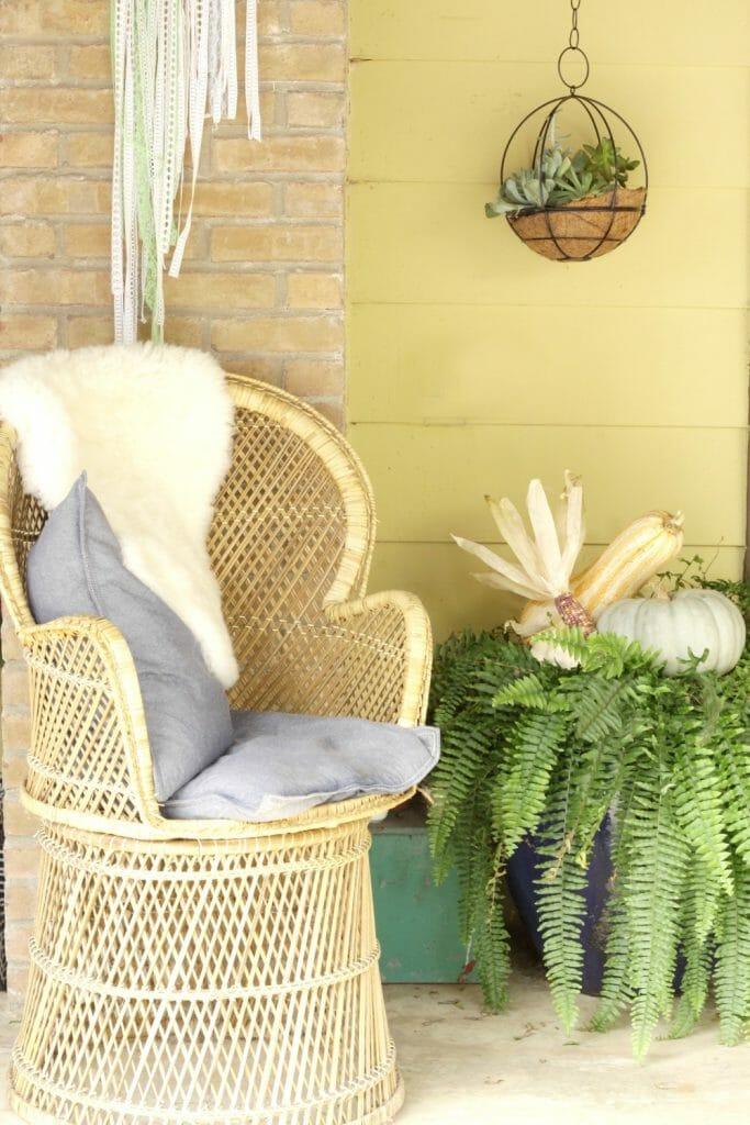 Wicker Chair on Fall Porch