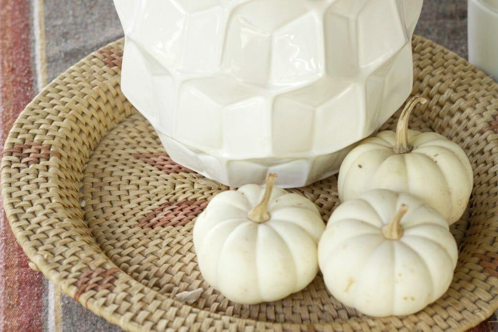 Boho Basket for Fall Porch Dining
