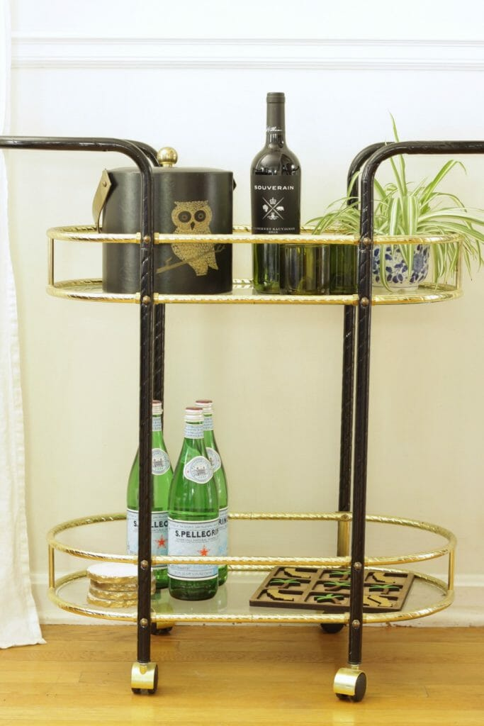 vintage-gold-bar-cart-fall-styling