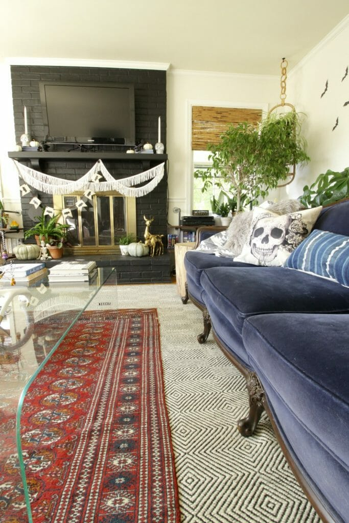 Blue Vintage Sofa in Eclectic Bohemian Living ROom