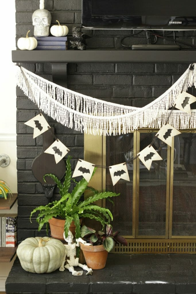 Halloween Mantle with Fringe and Bat Banner