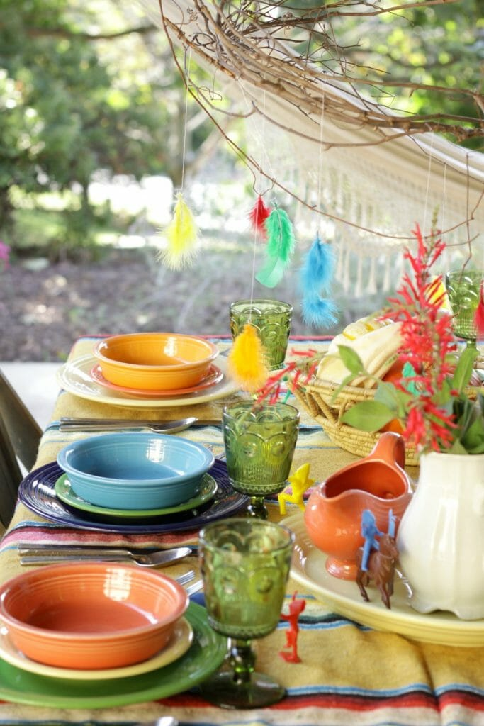 Colorful Kids Thanksgiving with Fiesta Ware