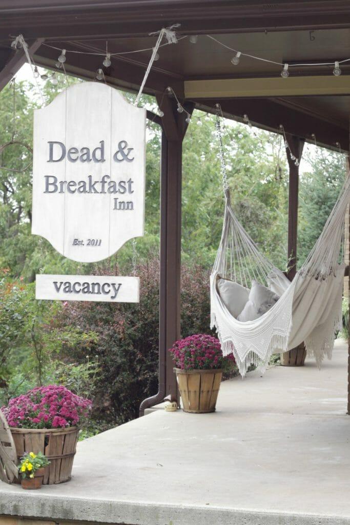 Dead & Breakfast Sign and Boho Hammock