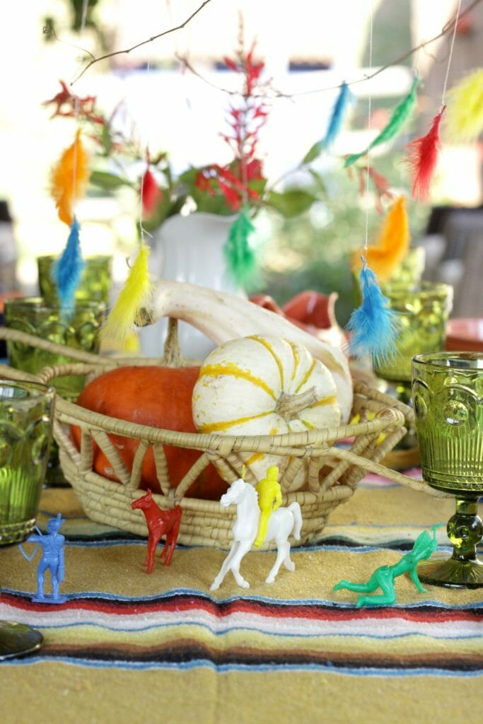Vintage Native American Toys on Thanksgiving table