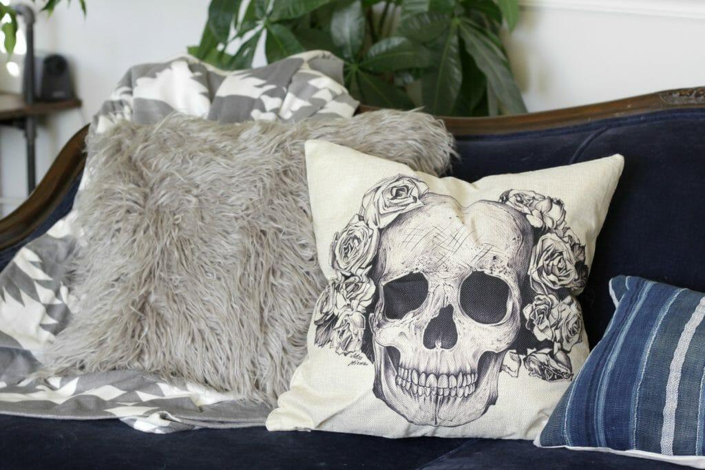 Fur Pillow and Skull Pillow