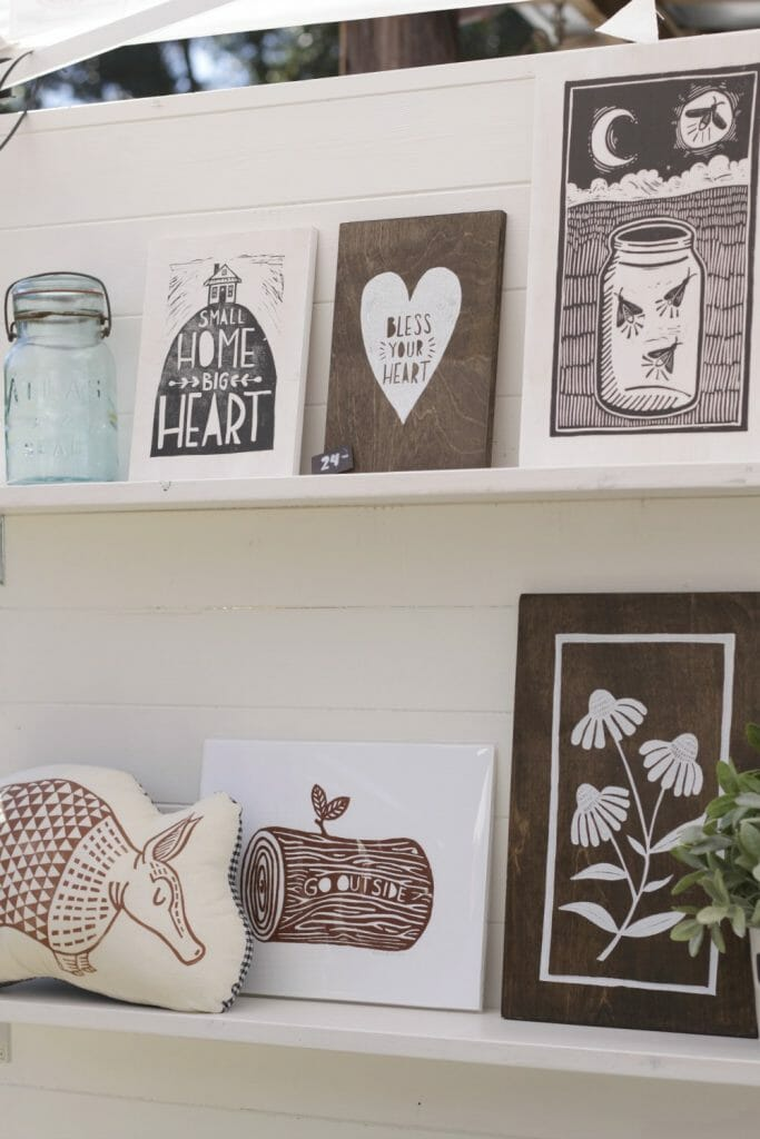 hand stamped signs and pillows- nest fest