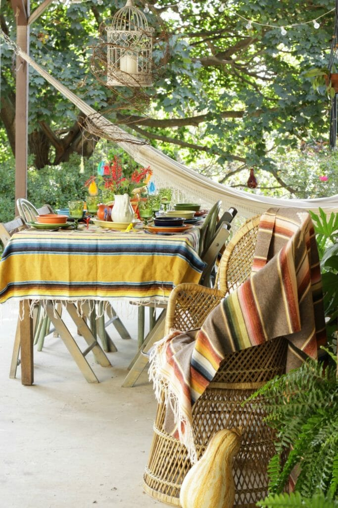 Bohemian Porch with Thanksgiving Table