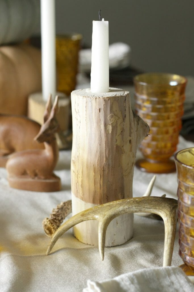 Rustic Log Candlestick & Antlers on Fall Table