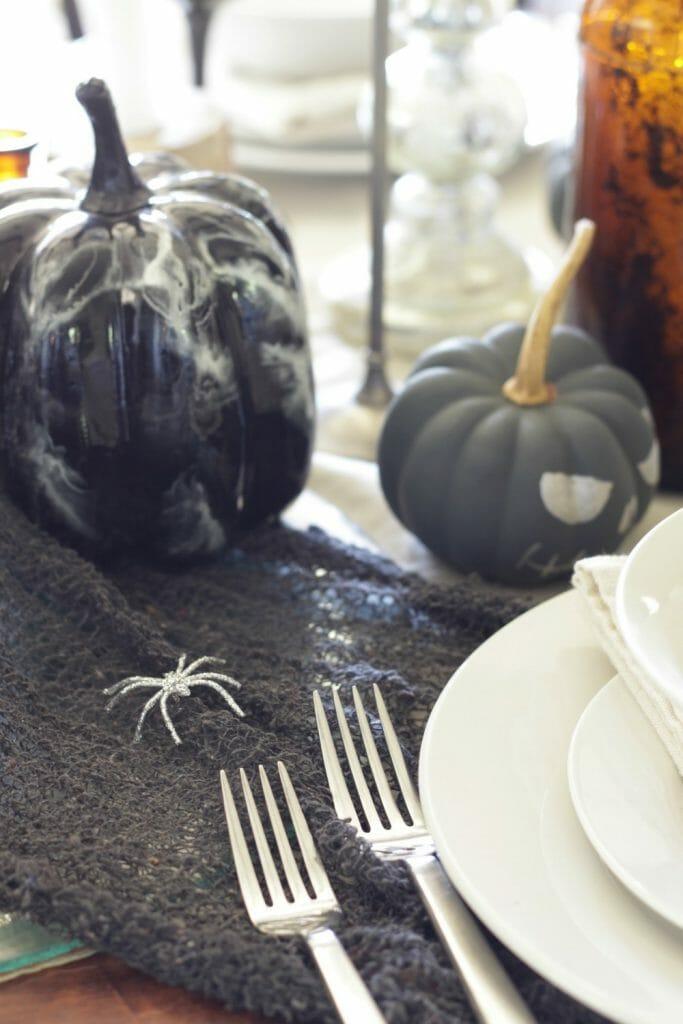 Spiders on Halloween Table