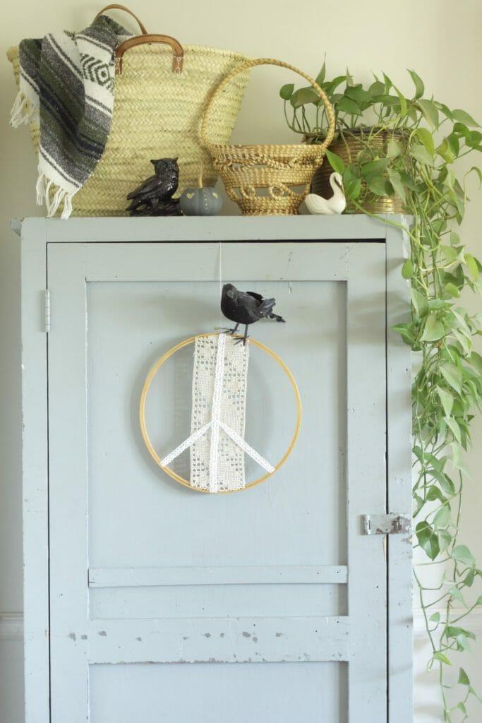 Crow on wreath for Halloween