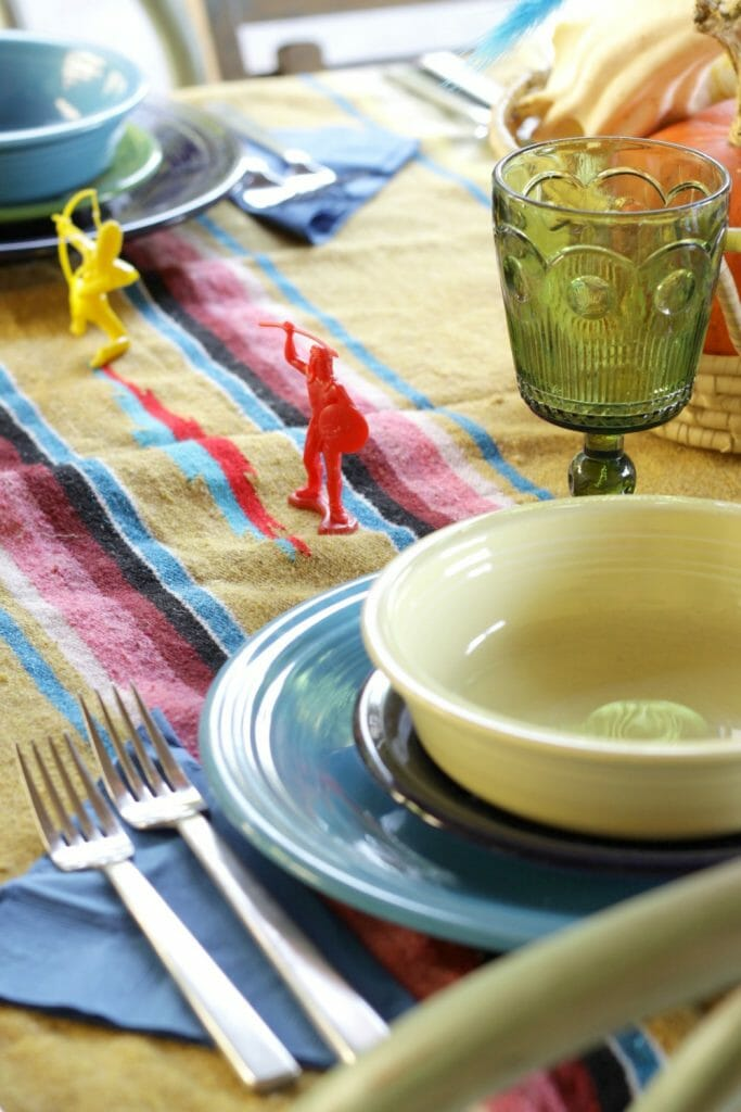 Layered colored dishes, Indian at Thanksgiving Place Setting