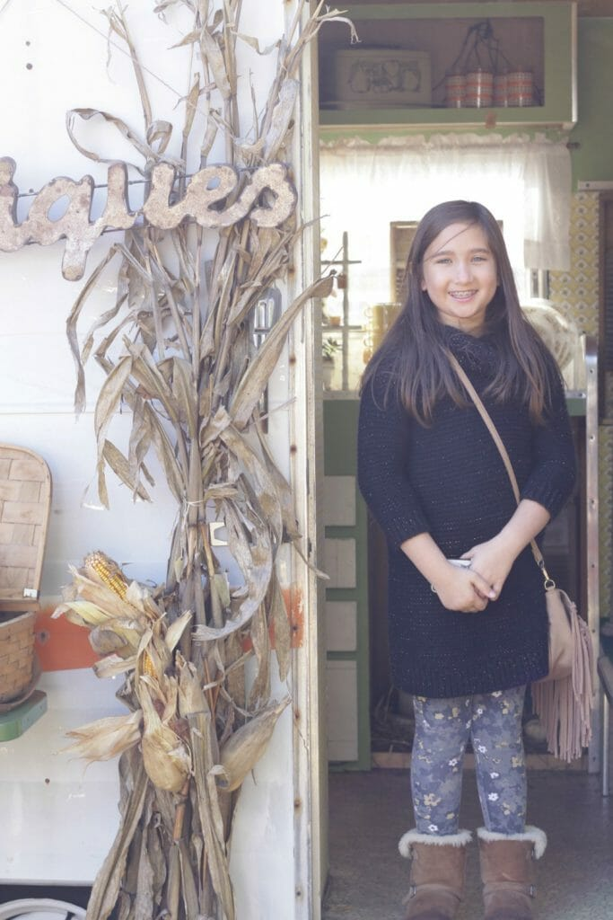 Emmy at vintage camper shop