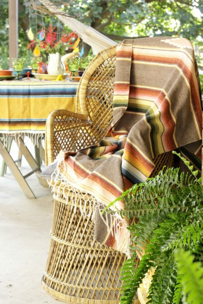 Vintage Peacock Chair with Serape