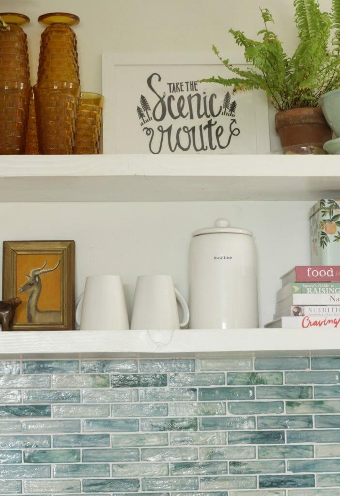 Vintage Art on Kitchen Shelves