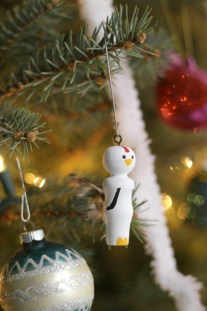 Hen ornament on tree