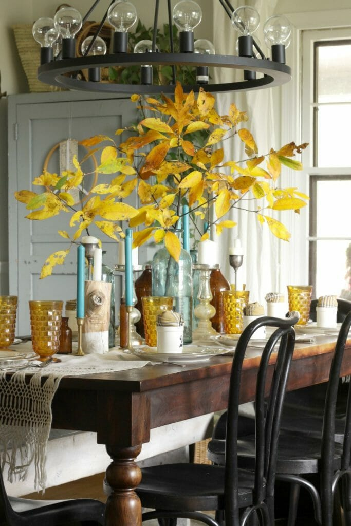 Amber and Aqua Vintage Dining Table Thanksgiving Style