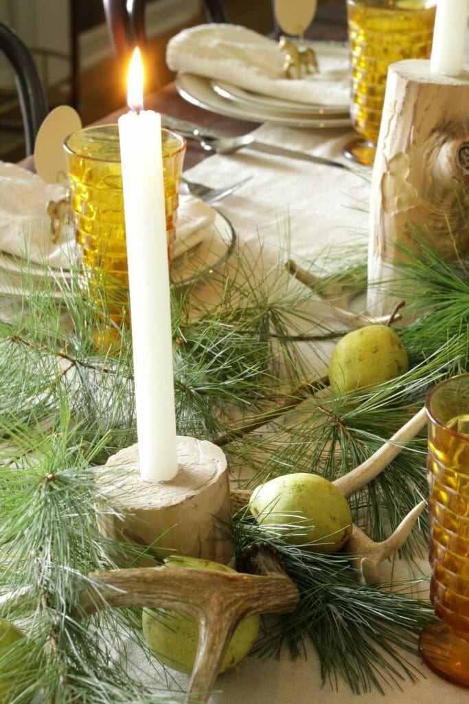 Pears, Antlers, Pine Holiday Centerpiece