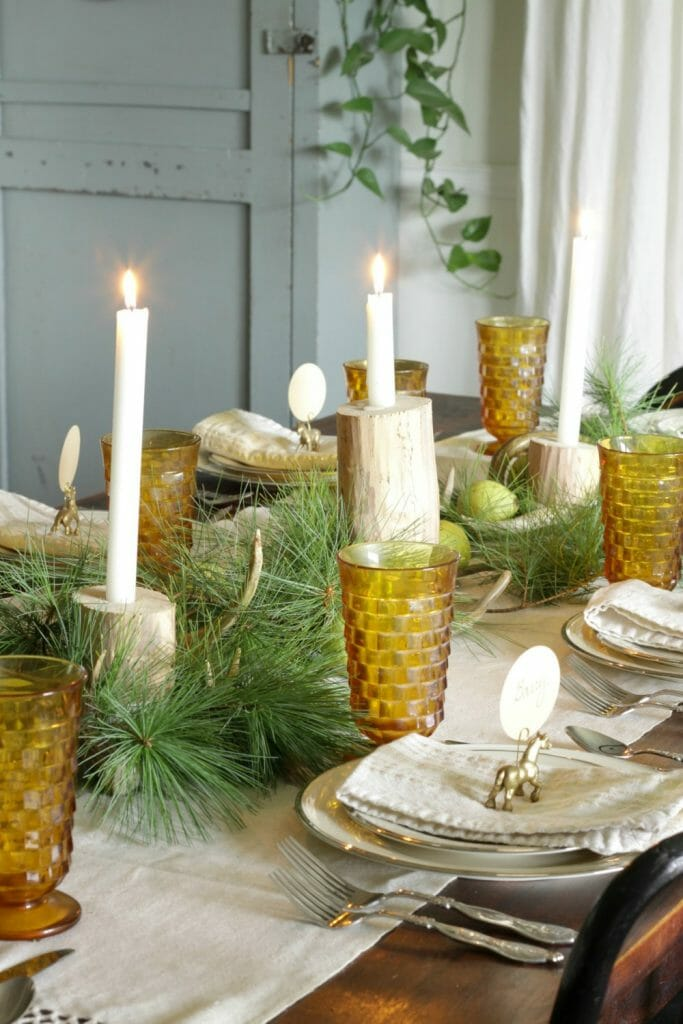 Natural Rustic Holiday Table with Pears, Pine, Antlers