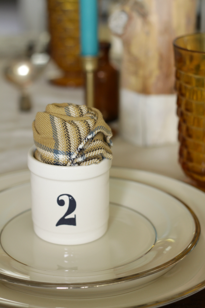 Numbered Spice Jar Place Holder with Rolled Napkin
