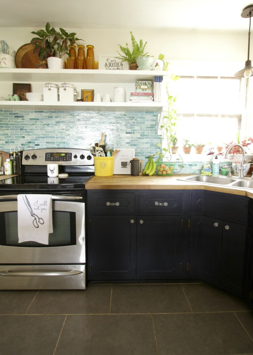 Earthy vintage styled kitchen shelves and a survey for Modern open kitchen