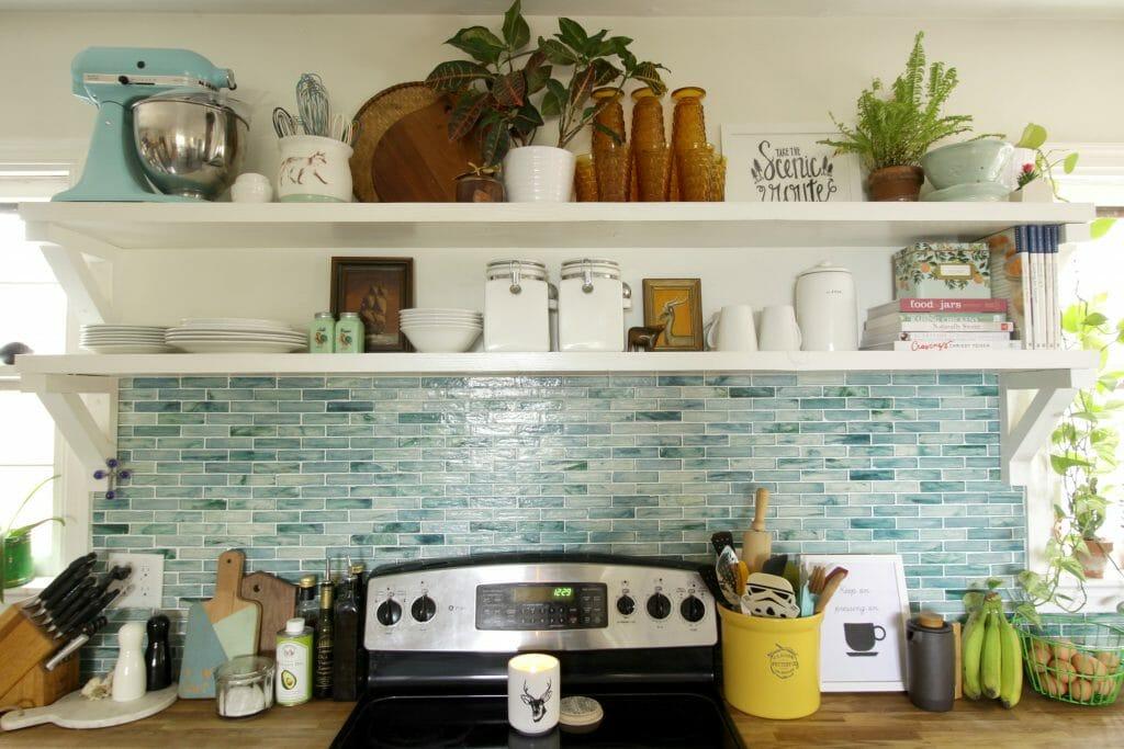 Open Shelving in Kitchen with Aqua Backsplash