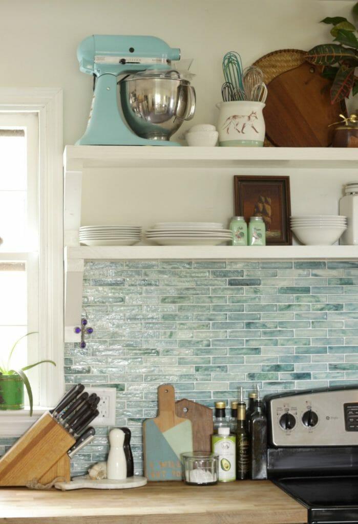 Aqua Kitchen Aid Mixer on Open Shelving in Kitchen