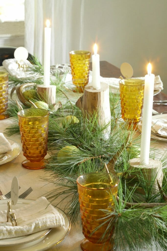 Centerpiece of Antlers, Pine, Pears, Candles
