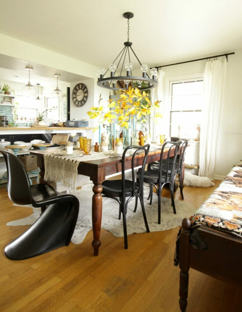 Modern Vintage Boho Dining Room Fall Colors