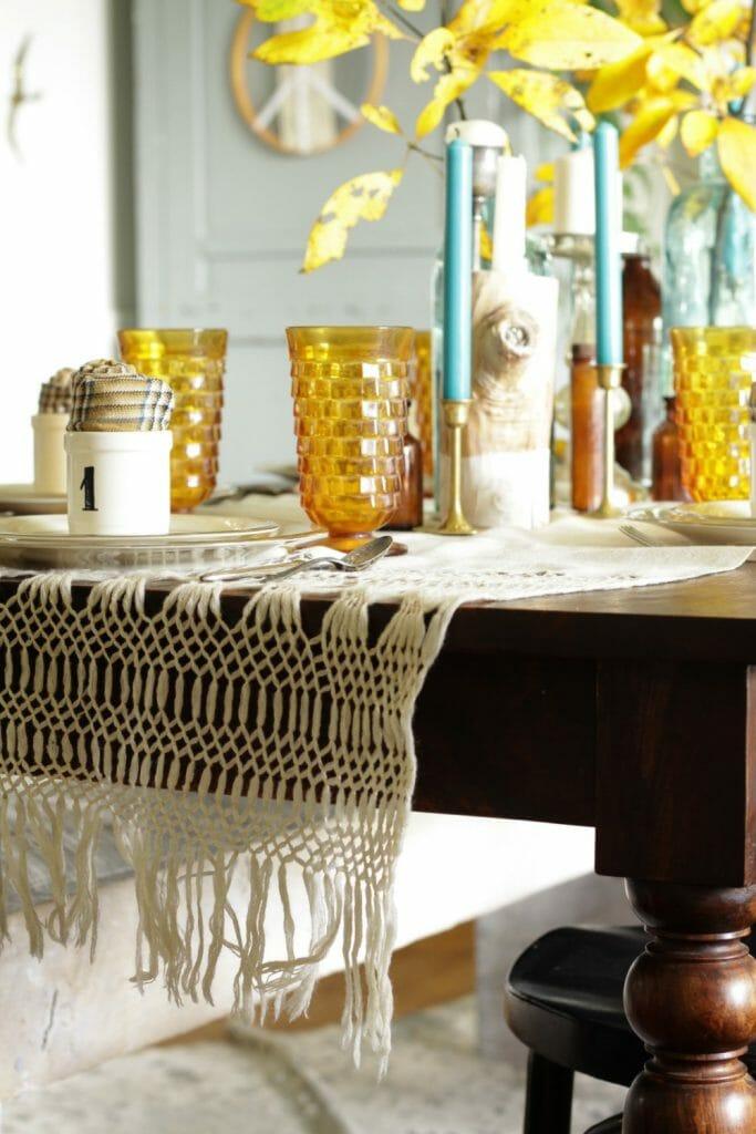 Vintage Macrame Table Runner- Vintage Tablescape