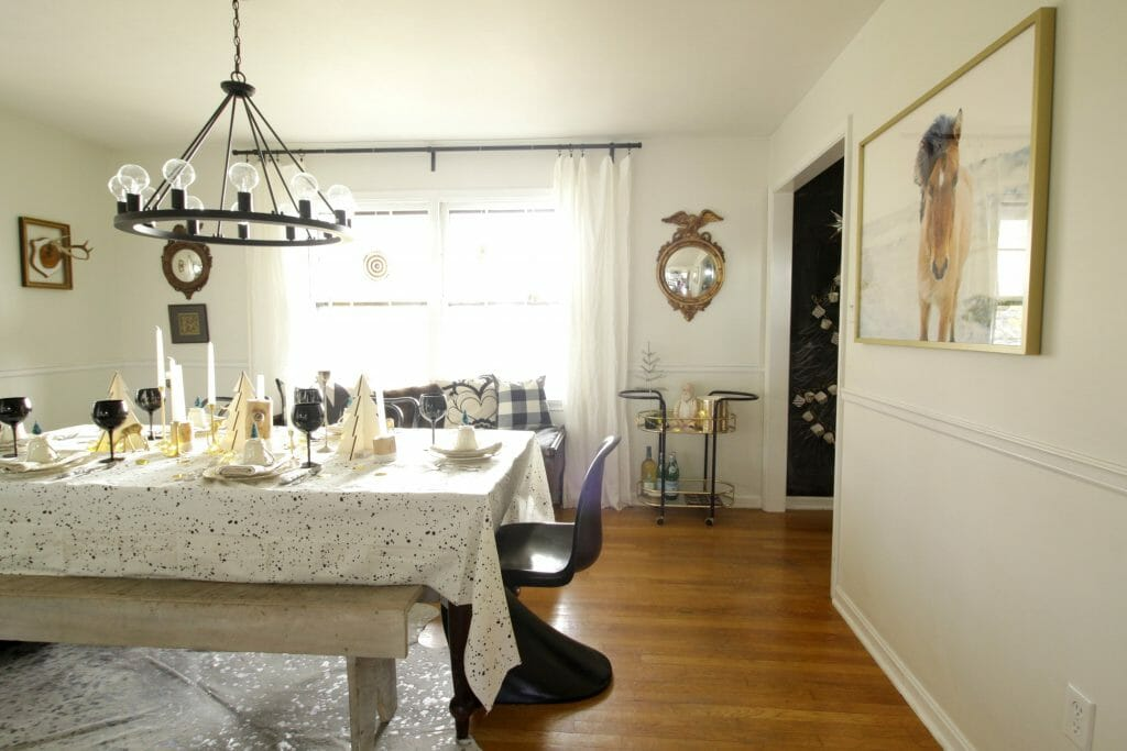 Black and white holiday dining room