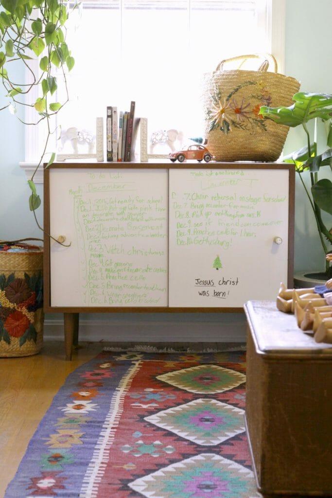 Dry Erase Cabinet in Kids ROom