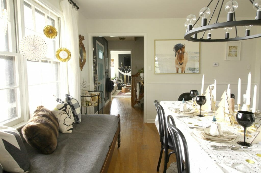 Eclectic Dining Room at Christmas