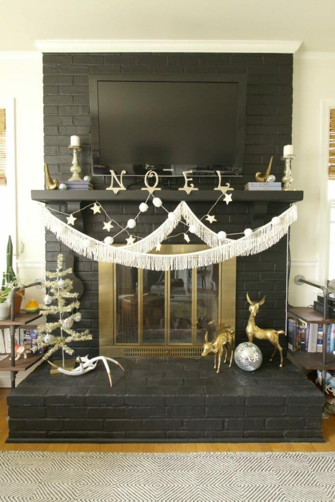 Black, White, Gold Mantle at Christmas