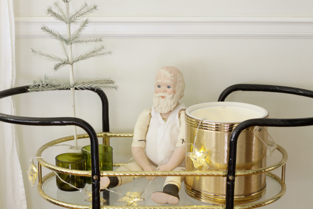 Vintage Santa on bar cart