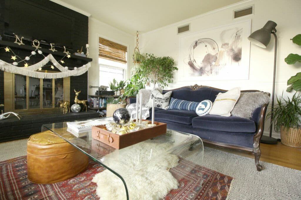 Vintage Eclectic Living Room at Christmas