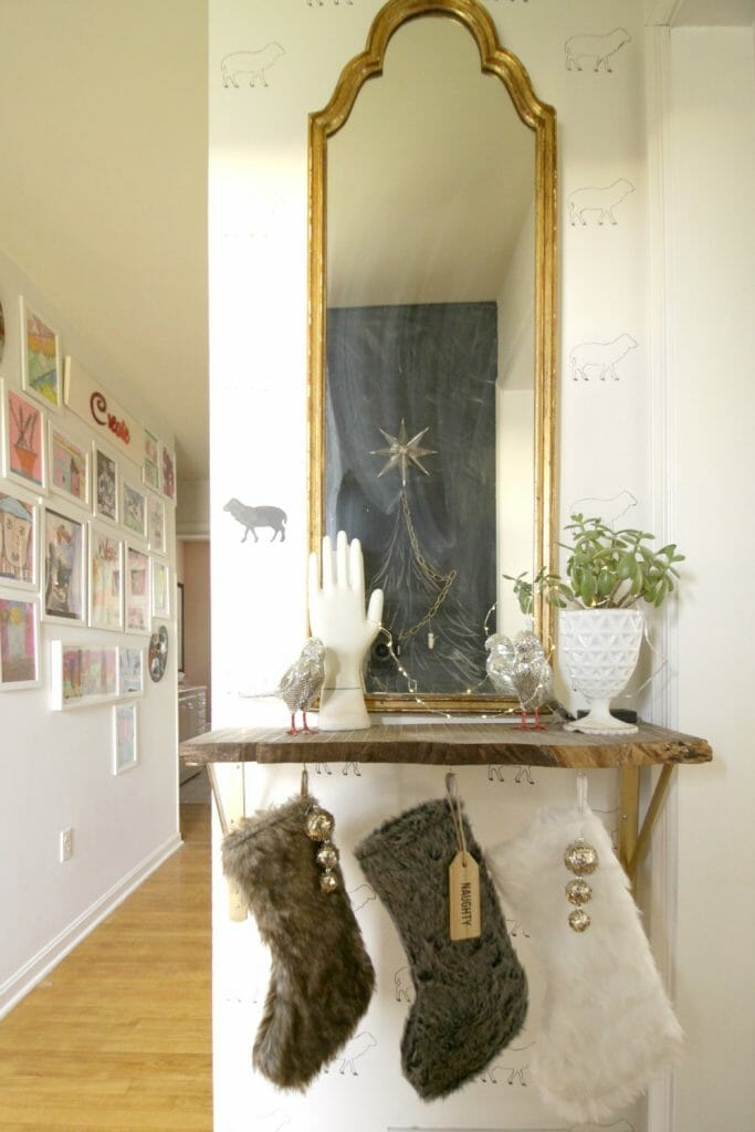 Fur Stockings on Live Edge Shelf