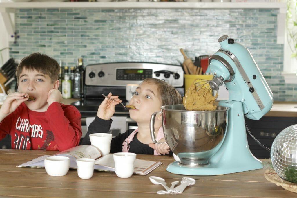 Kids trying cookie dough