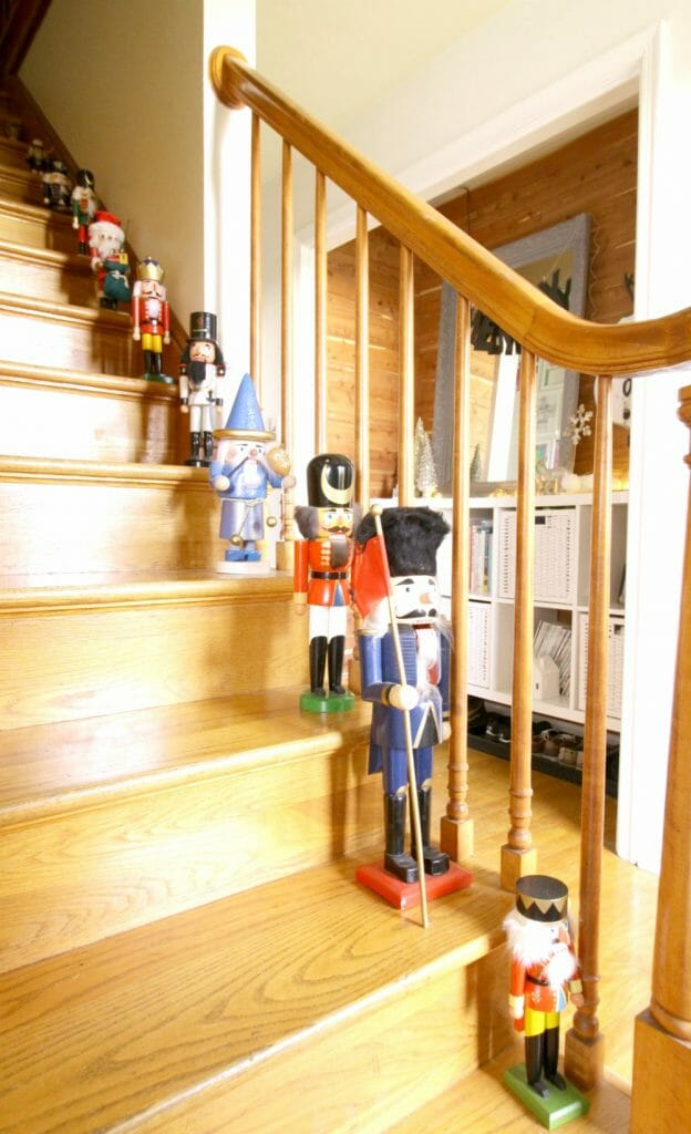 Nutcrackers lining Christmas staircase