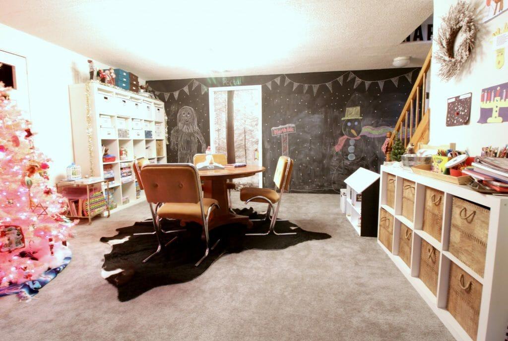 Christmas Playroom with chalkboard wall