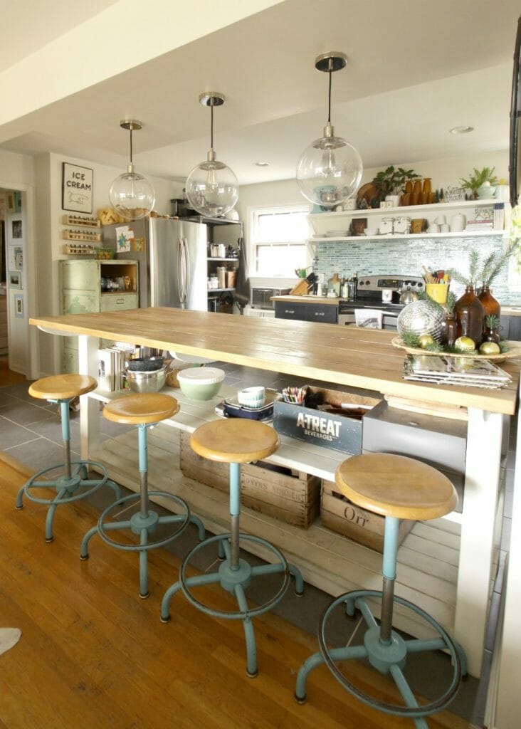 Industrial Kitchen Island with vintage stools
