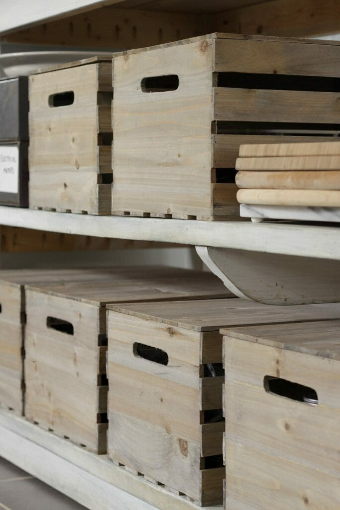 Crates with Lids on Kitchen Island