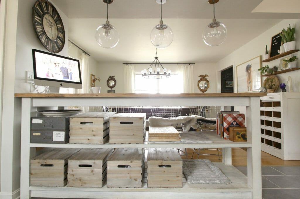 Kitchen Island Crate Storage
