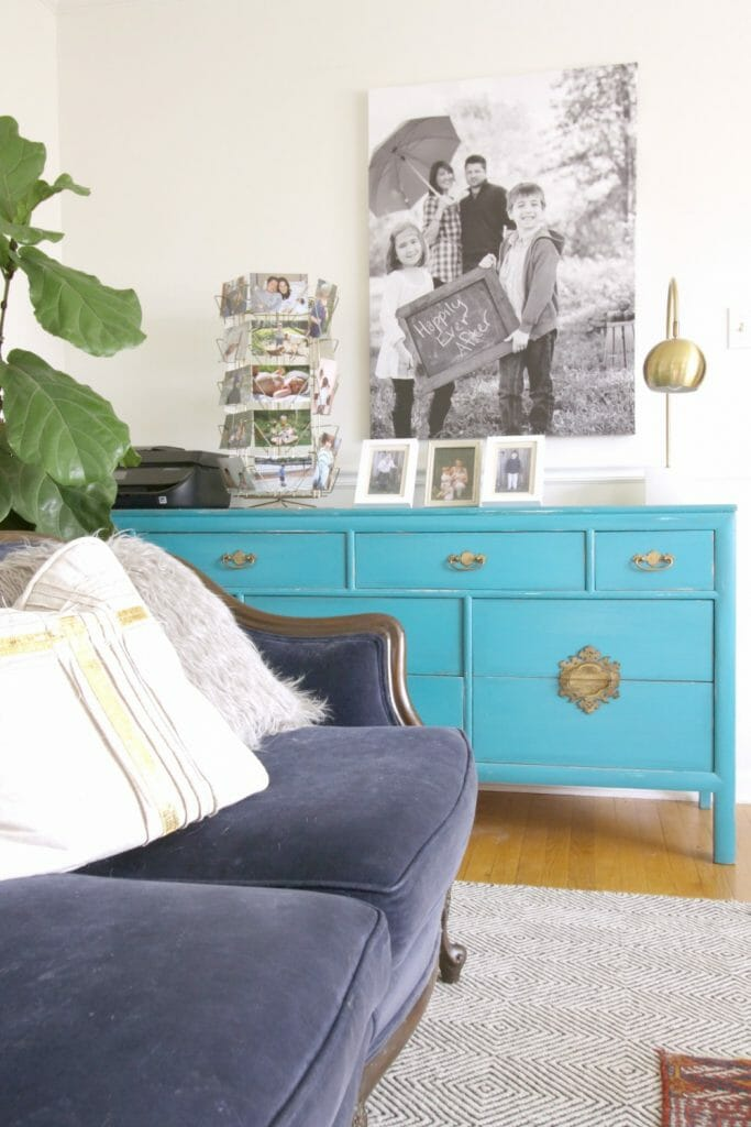 Turquoise Asian Style Dresser in Living Room