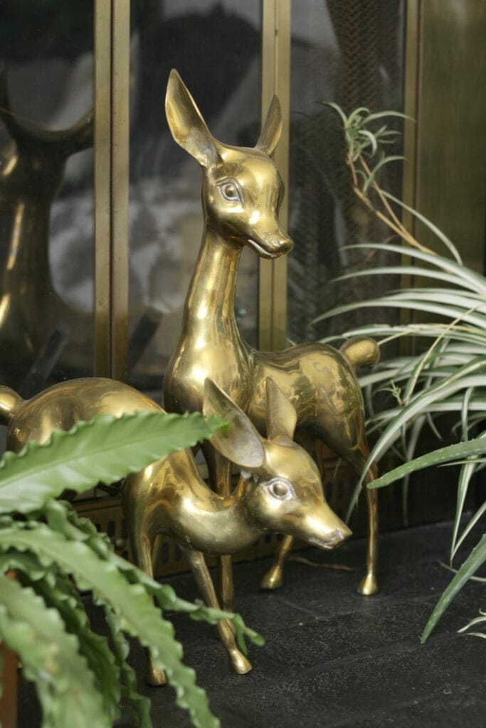 Vintage Brass Deer with Plants on Hearth- Winter Mantle