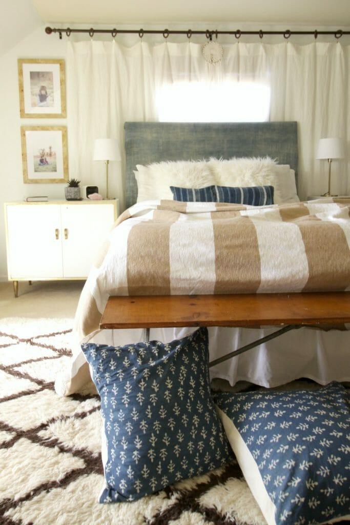 Bohemian Bedroom with Custom Framed Family Photos from Framebridge