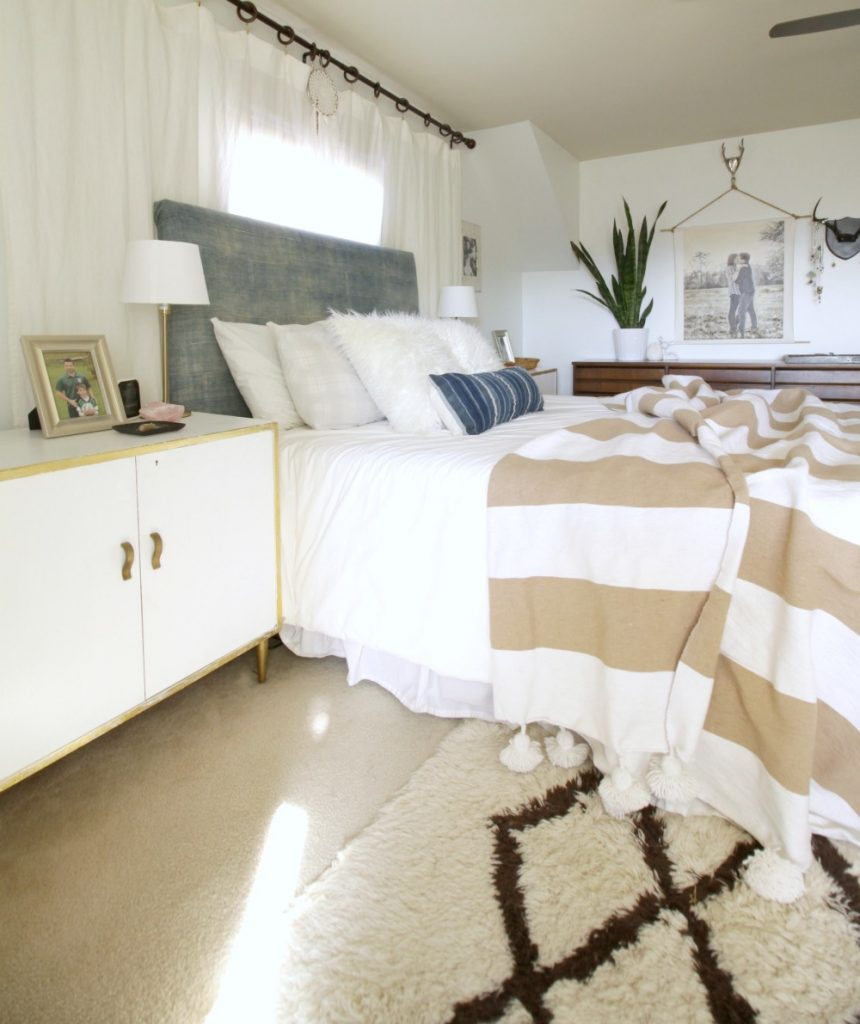 Neutral Blue and White and Beige Bedroom- Modern Bohemian Style